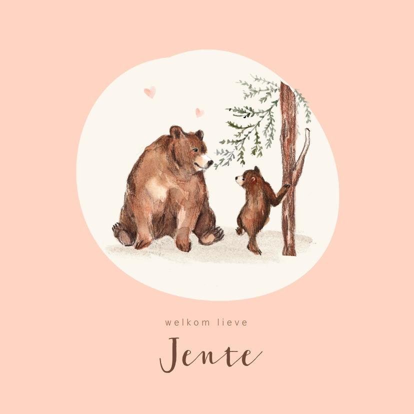Geboortekaartjes - Geboortekaartje meisje bruine beren hartjes