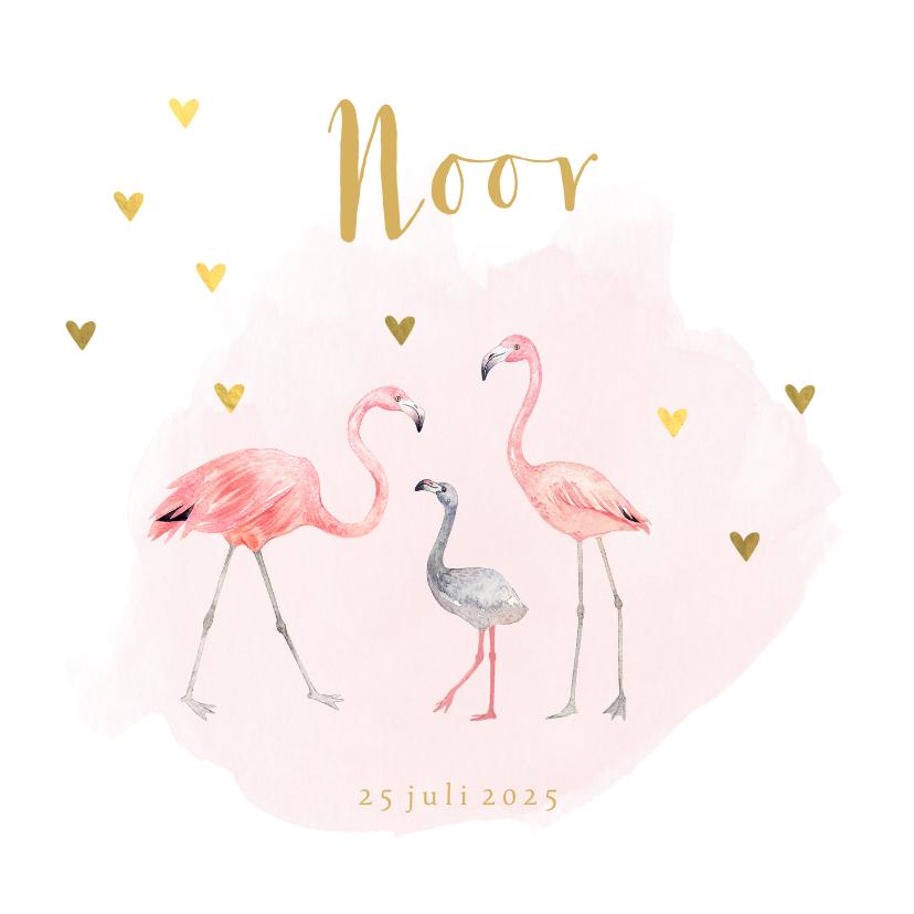 Geboortekaartjes - Geboortekaartje meisje flamingo gouden hartjes