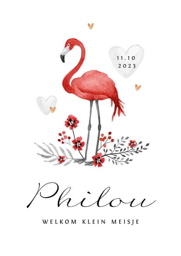 Geboortekaartjes - Geboortekaartje meisje flamingo rood hartjes goud