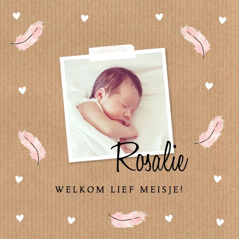 Geboortekaartjes - Geboortekaartje meisje foto kraft veertjes