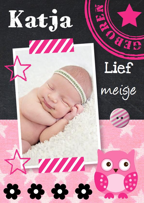 Geboortekaartjes - Geboortekaartje meisje foto krijtbord uiltje