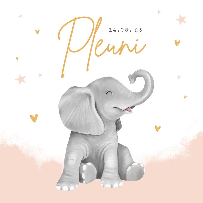 Geboortekaartjes - Geboortekaartje meisje hartjes goud waterverf olifant
