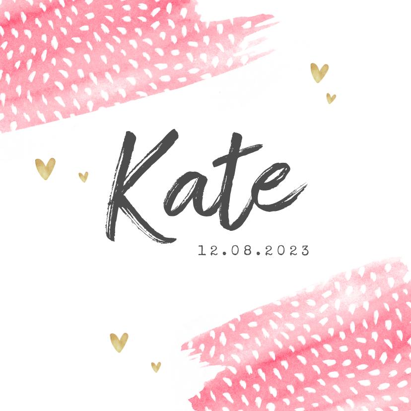 Geboortekaartjes - geboortekaartje meisje hip waterverf roze stipjes hartjes