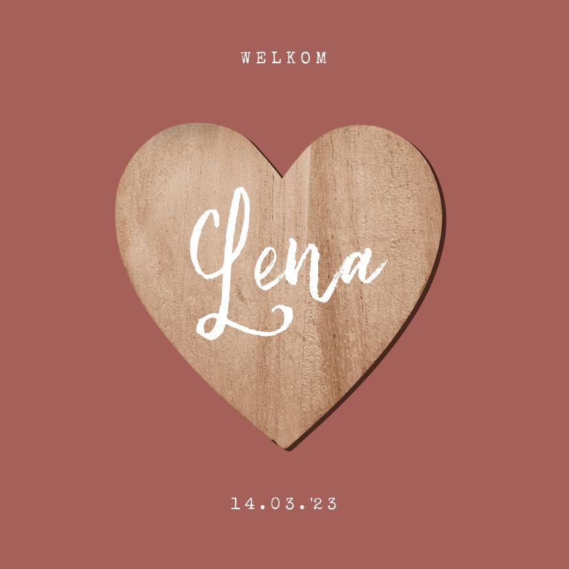 Geboortekaartjes - Geboortekaartje meisje houten hartje foto terra roze
