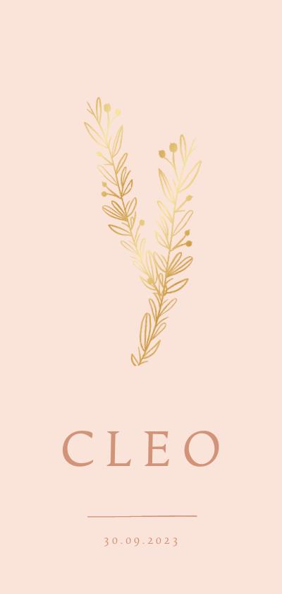 Geboortekaartjes - Geboortekaartje meisje klassiek gouden takjes roze