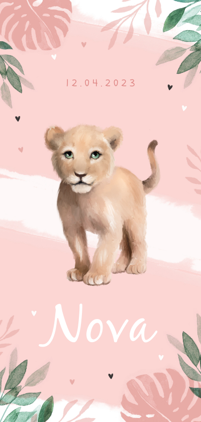 Geboortekaartjes - Geboortekaartje meisje leeuw waterverf