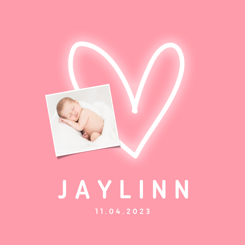 Geboortekaartjes - Geboortekaartje meisje less is more neon hartje met foto