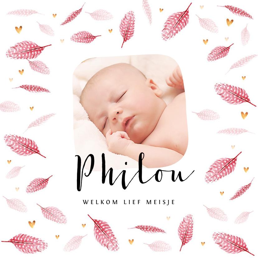 Geboortekaartjes - Geboortekaartje meisje lief foto roze veertjes goud hartjes