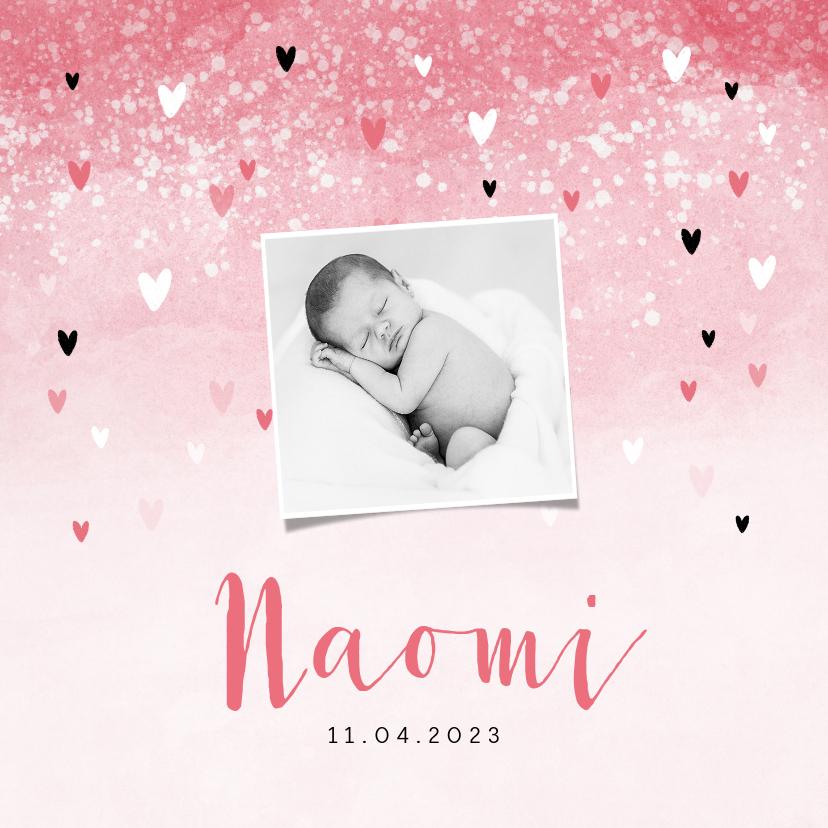Geboortekaartjes - Geboortekaartje meisje lief roze waterverf hartjes
