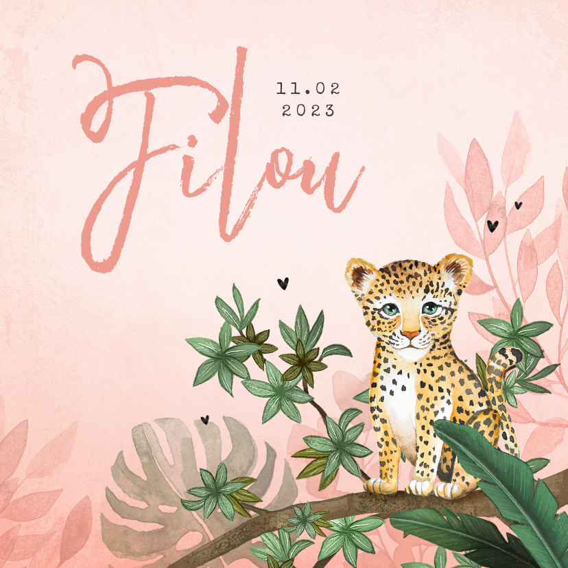 Geboortekaartjes - Geboortekaartje meisje luipaard botanisch roze jungle
