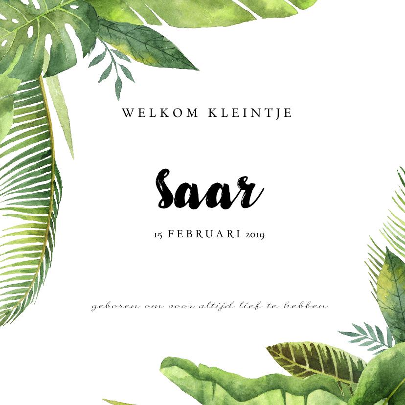 Geboortekaartjes - Geboortekaartje meisje met botanische elementen