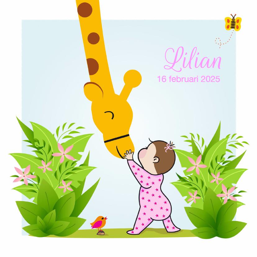 Geboortekaartjes - Geboortekaartje meisje met giraf