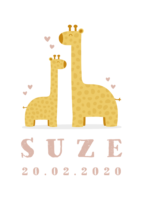 Geboortekaartjes - Geboortekaartje meisje met giraffes en hartjes