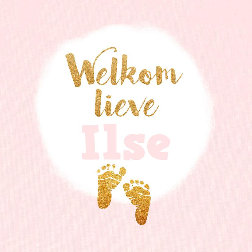 Geboortekaartjes - Geboortekaartje meisje met gouden voetjes