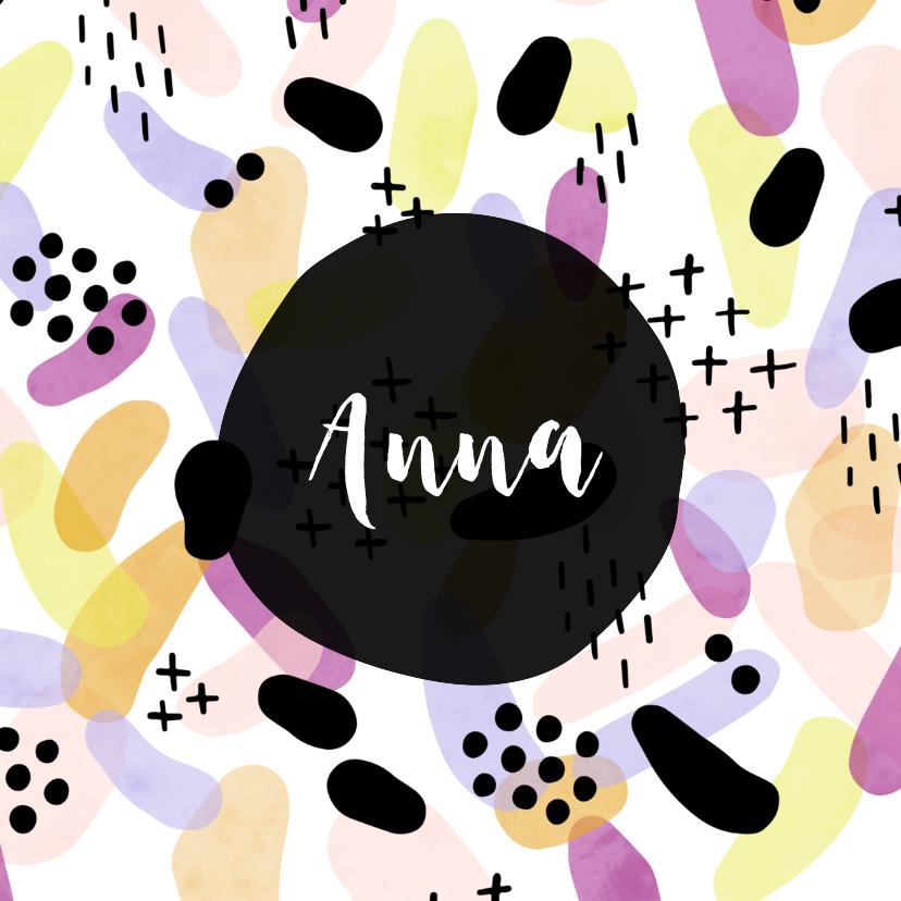Geboortekaartjes - Geboortekaartje meisje met kleurrijk patroon vierkant