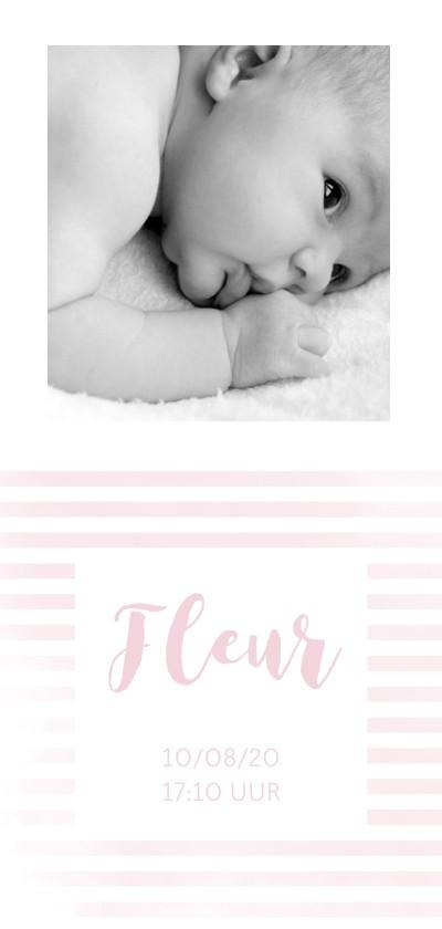 Geboortekaartjes - Geboortekaartje meisje met roze strepen