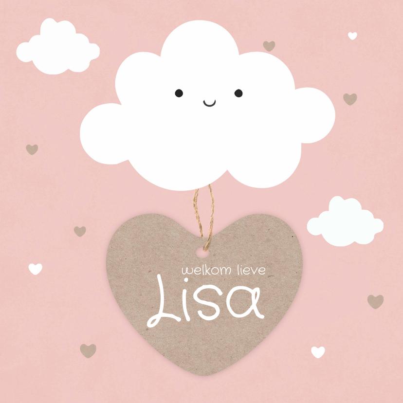 Geboortekaartjes - Geboortekaartje meisje met schattig wolkje en hartjes label