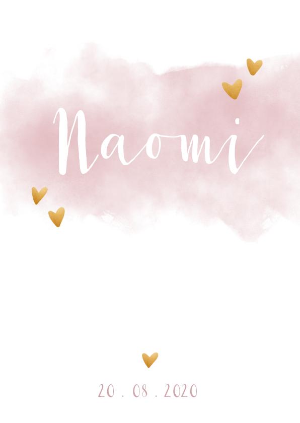 Geboortekaartjes -  Geboortekaartje meisje met waterverf en hartjes