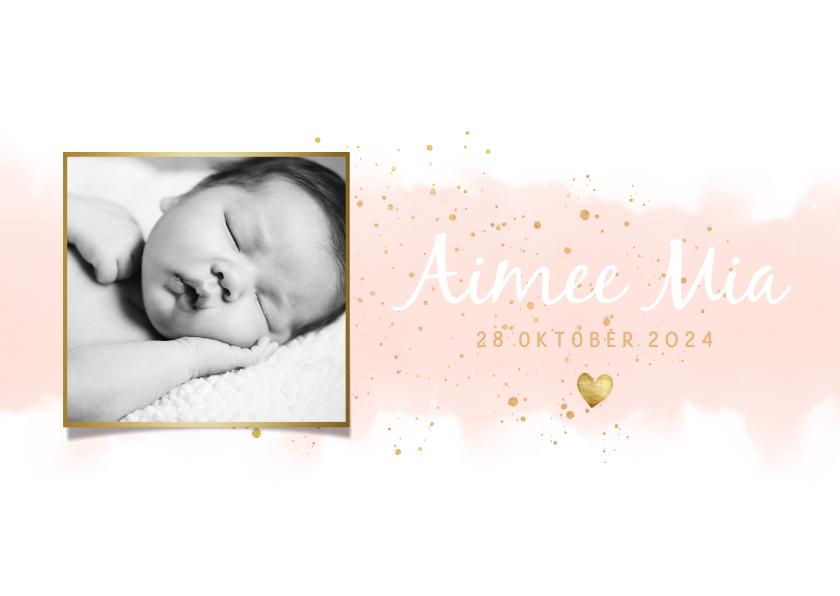 Geboortekaartjes - Geboortekaartje meisje met waterverf, hartjes en spetters