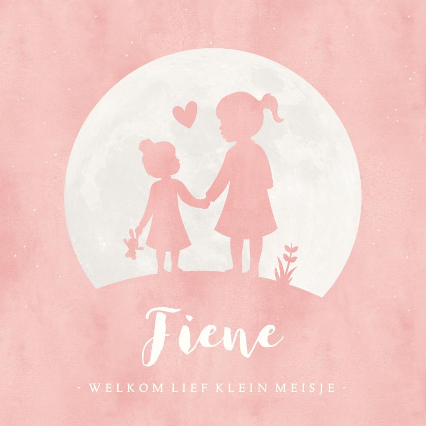 Geboortekaartjes - Geboortekaartje meisje met zusje hand in hand in volle maan