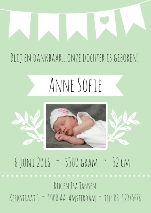 Geboortekaartjes - Geboortekaartje Meisje Mint - WW