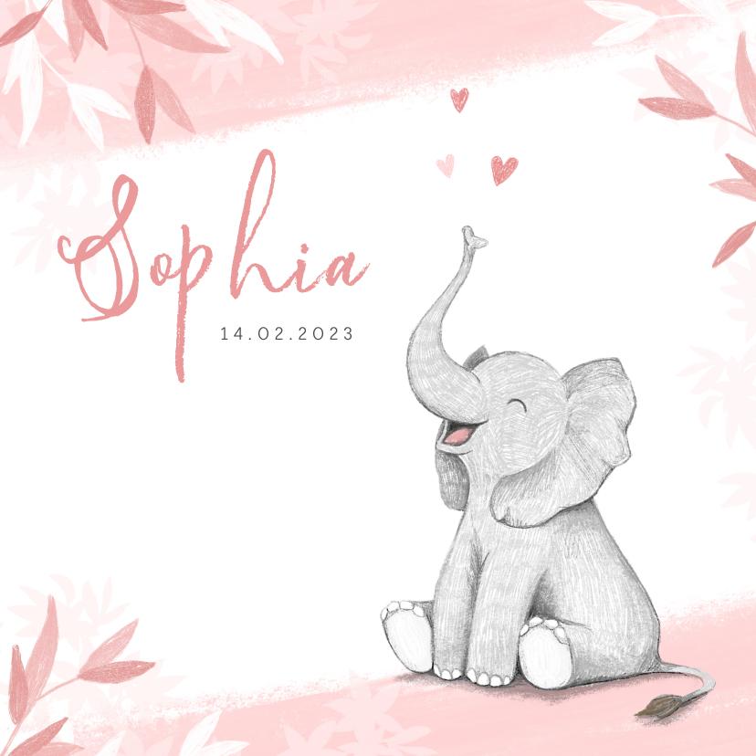 Geboortekaartjes - Geboortekaartje meisje olifant dieren roze illustratie