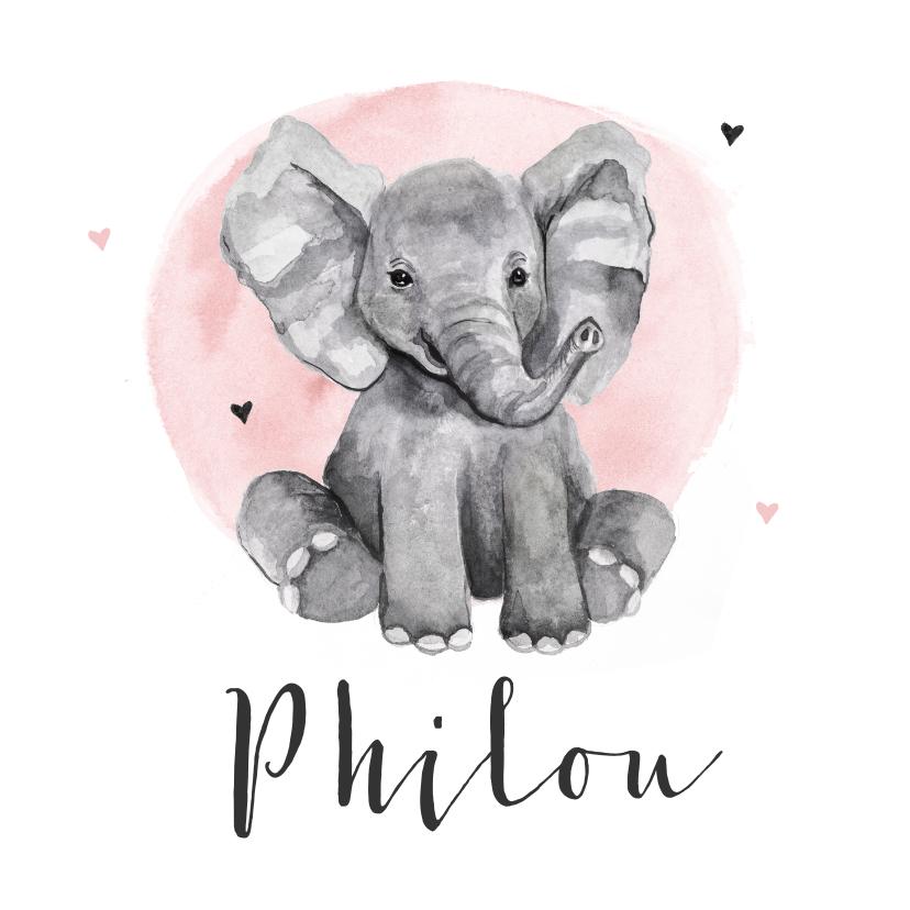 Geboortekaartjes - Geboortekaartje meisje olifant waterverf hartjes