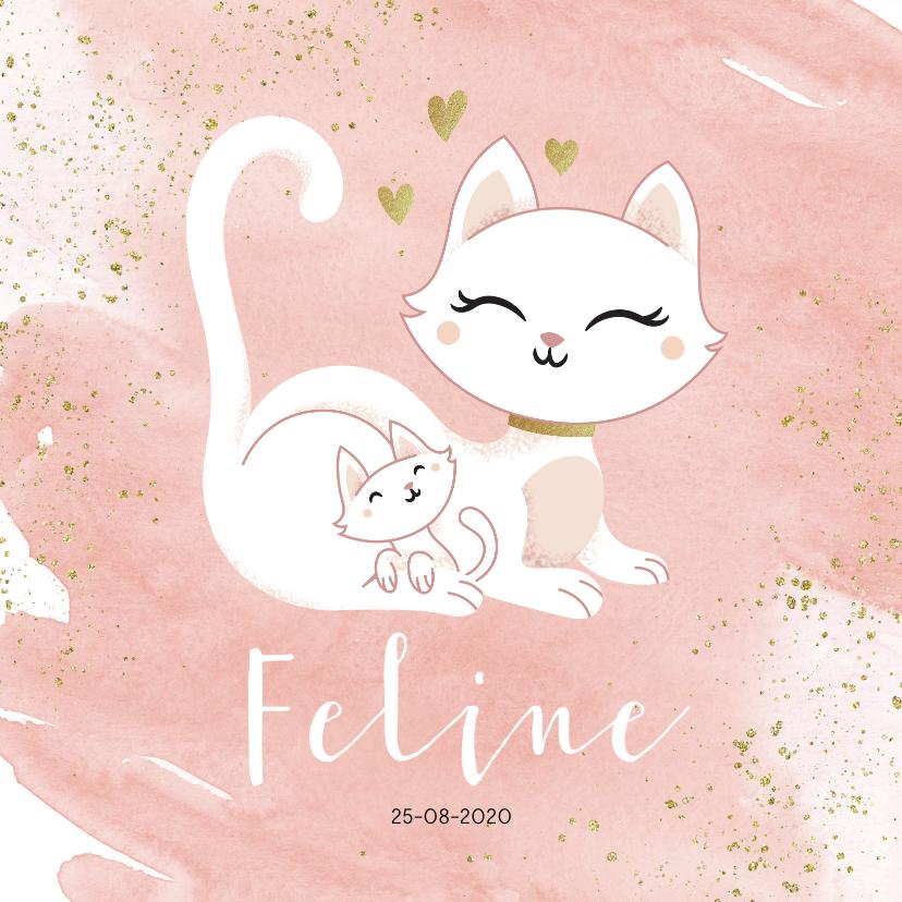 Geboortekaartjes - Geboortekaartje meisje poesje kat kitten waterverf