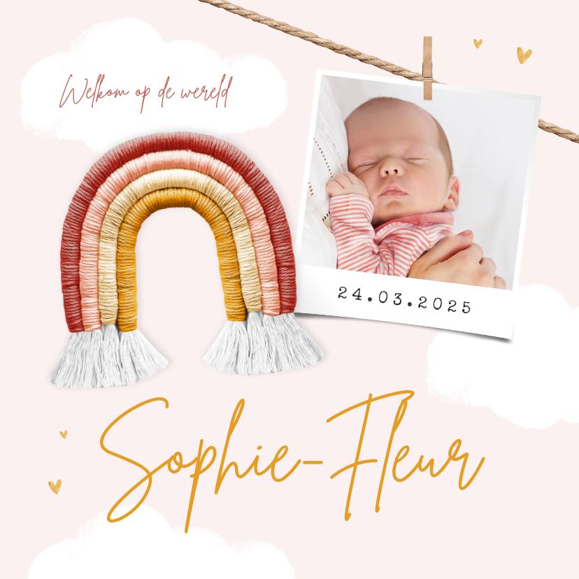 Geboortekaartjes - Geboortekaartje meisje regenboog babyspul foto wolken