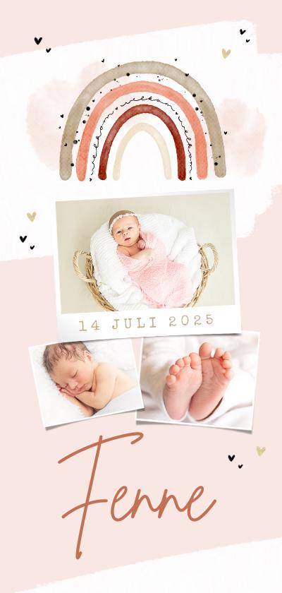 Geboortekaartjes - Geboortekaartje meisje regenboog hartjes fotocollage