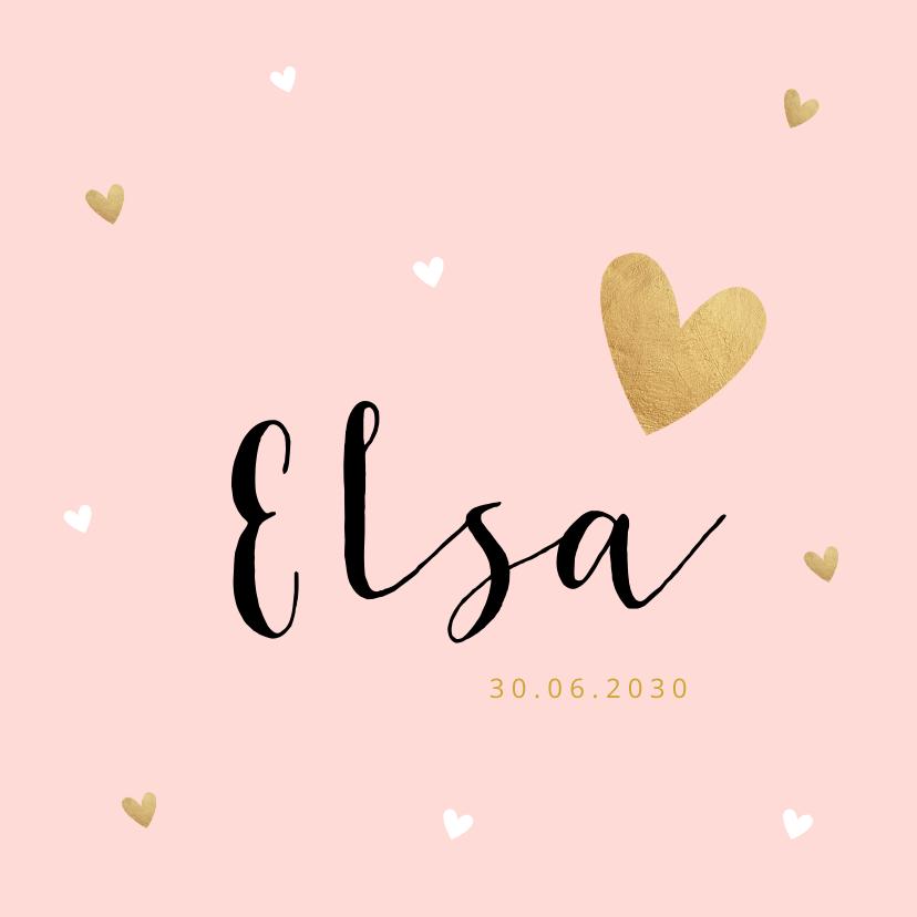 Geboortekaartjes - Geboortekaartje meisje roze hartjes goudlook