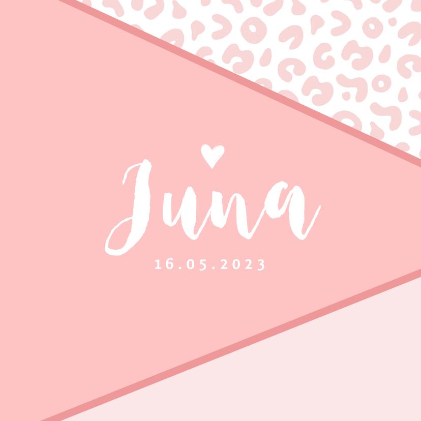 Geboortekaartjes - Geboortekaartje meisje roze panterprint hartje foto