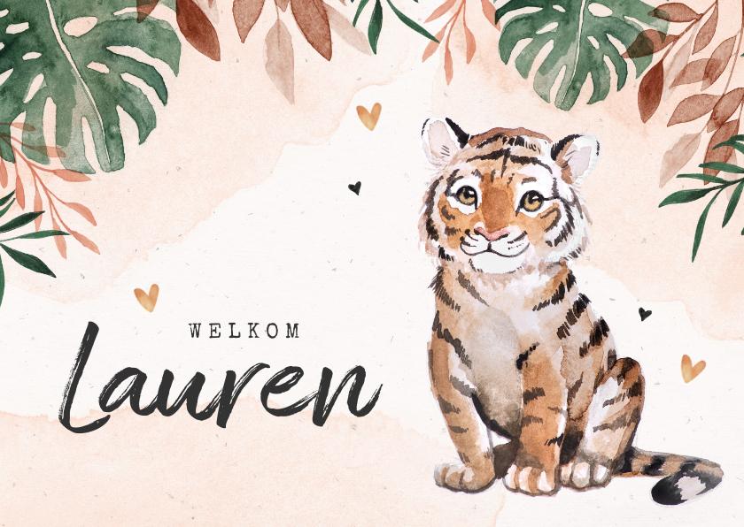 Geboortekaartjes - Geboortekaartje meisje tijger jungle waterverf