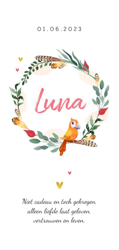 Geboortekaartjes - Geboortekaartje meisje veertje vogeltje hartjes