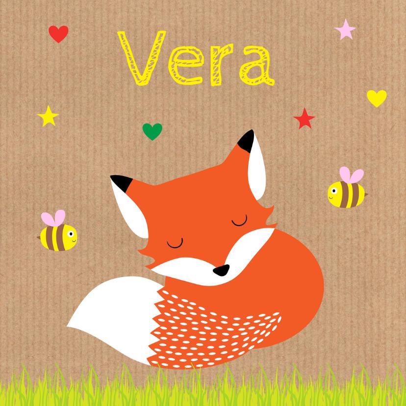 Geboortekaartjes - Geboortekaartje meisje vos kraft