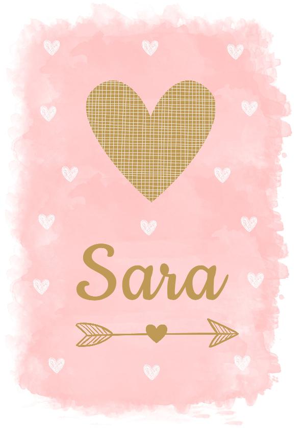 Geboortekaartjes - Geboortekaartje meisje waterverf roze