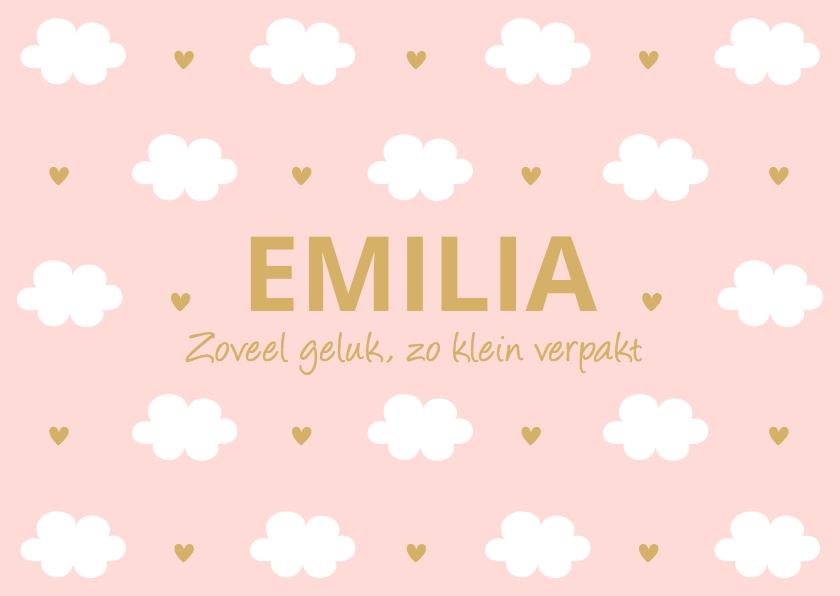 Geboortekaartjes - Geboortekaartje meisje wolkjes roze