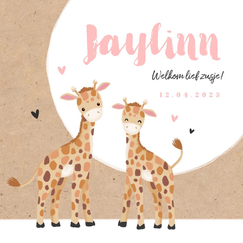 Geboortekaartjes - Geboortekaartje meisje zusje giraf kraft hartjes
