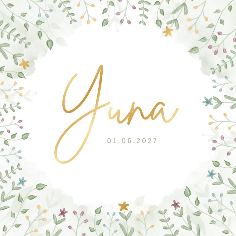 Geboortekaartjes - Geboortekaartje met blaadjes en bloemetjes