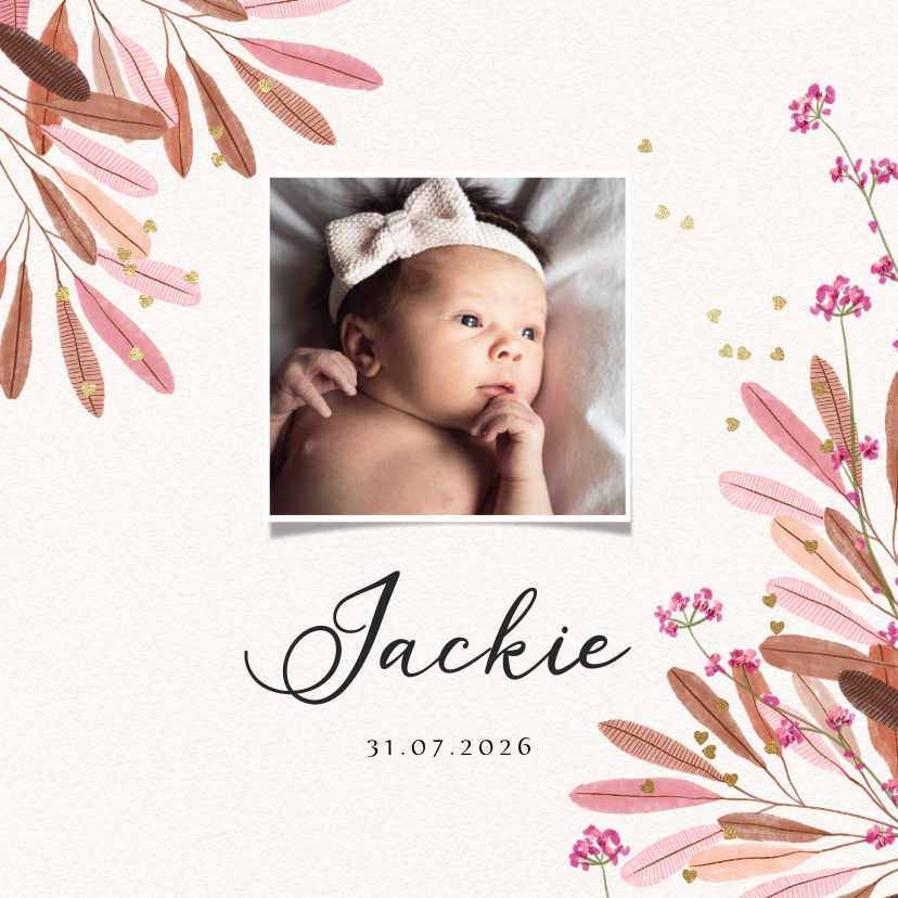 Geboortekaartjes - Geboortekaartje met bladeren, bloemen en gouden hartjes