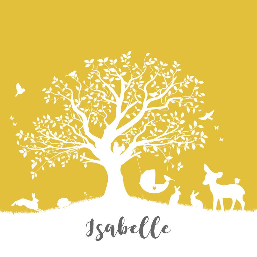 Geboortekaartjes - Geboortekaartje met boom, wiegje en dieren