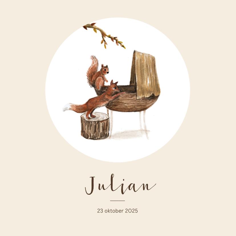 Geboortekaartjes - Geboortekaartje met bosdieren van wiegje illustratie
