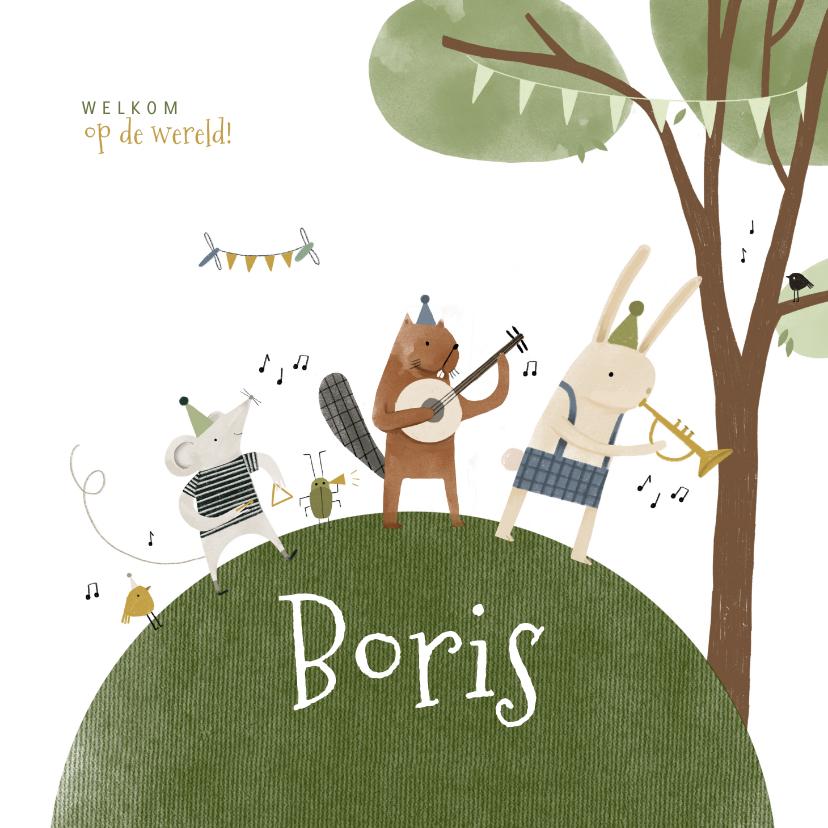 Geboortekaartjes - Geboortekaartje met bosdiertjes en muziekinstrumenten