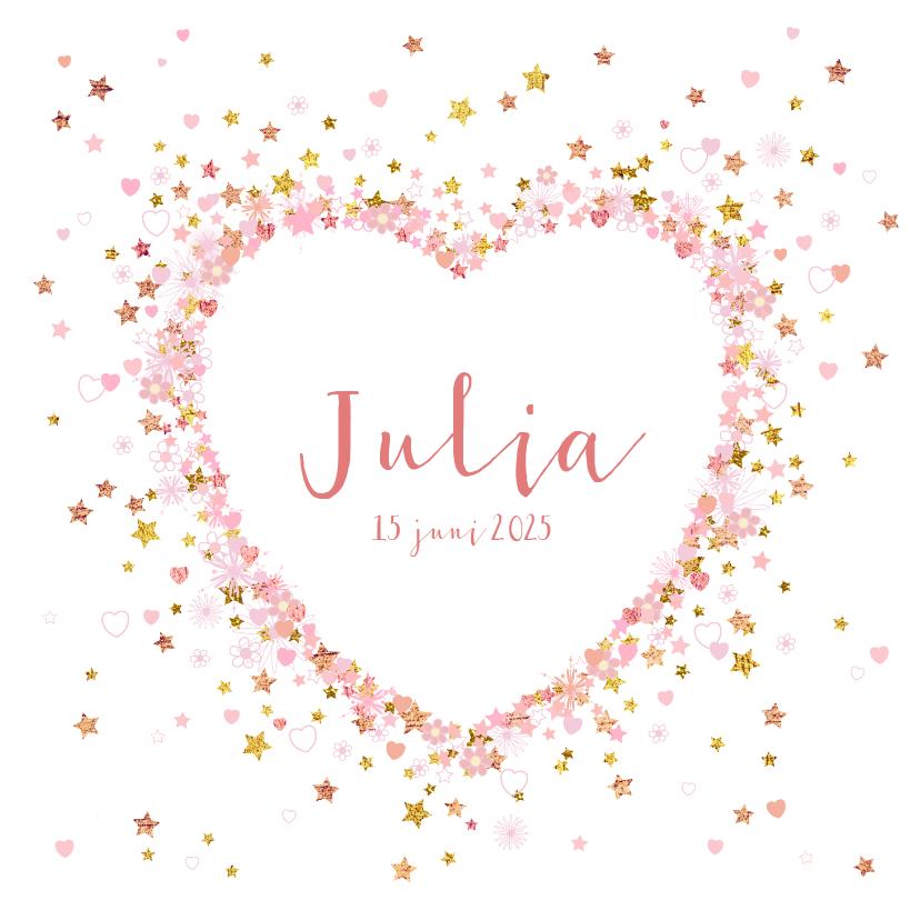 Geboortekaartjes - Geboortekaartje met een hart met vele hartjes en sterren