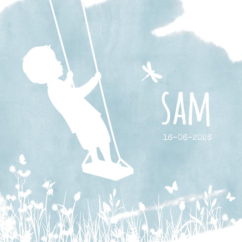 Geboortekaartjes - Geboortekaartje met een silhouet van een jongen op schommel