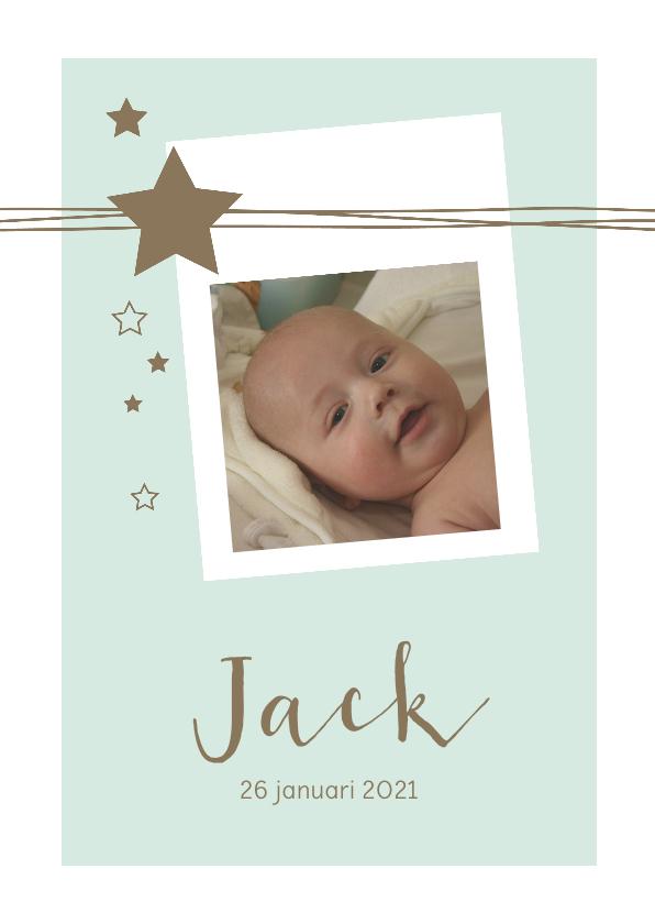 Geboortekaartjes - Geboortekaartje met foto, lijnen, sterren voor een jongen