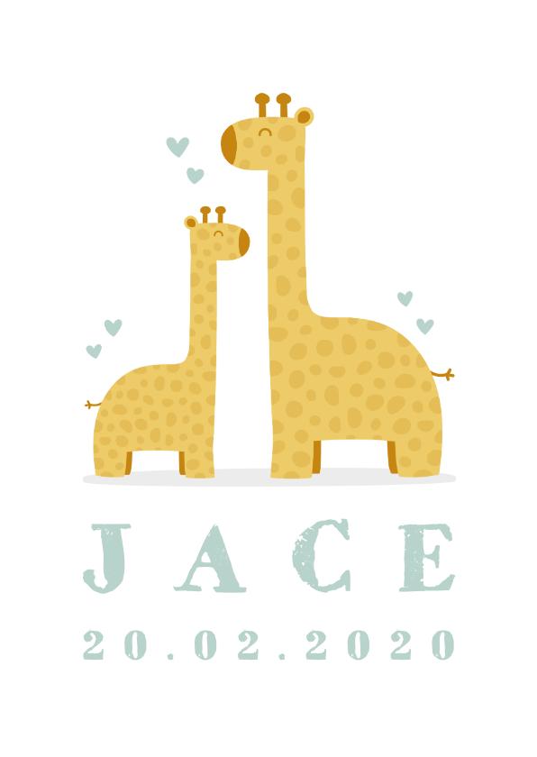 Geboortekaartjes - Geboortekaartje met giraffes en hartjes  jongen