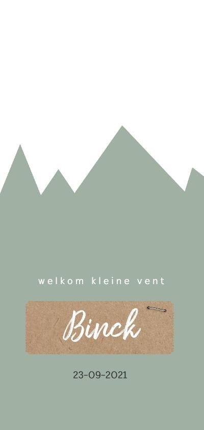 Geboortekaartjes - Geboortekaartje met groene bergen en kraft label