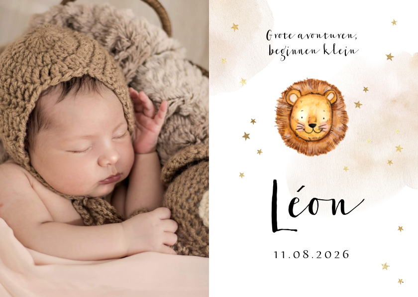 Geboortekaartjes - Geboortekaartje met grote foto, leeuwtje en sterretjes
