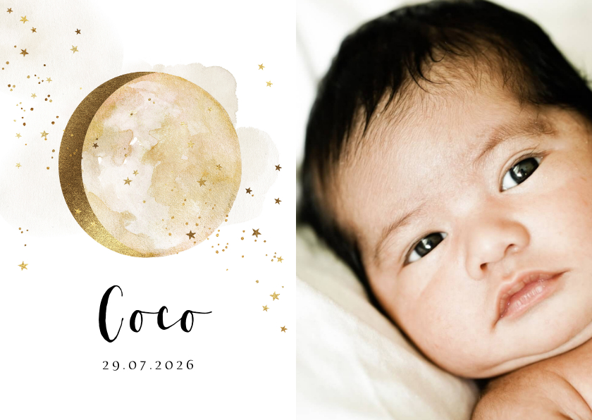 Geboortekaartjes - Geboortekaartje met grote foto watercolour maan in goud